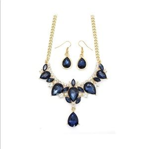 Gold Blue Crystal Earrings Necklace Set